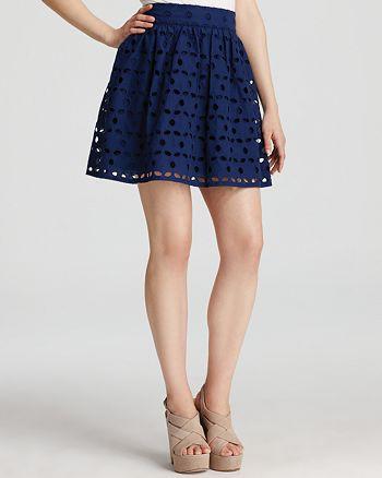 AQUA - Large Eyelet Exposed Zip Full Skirt - 100% Exclusive