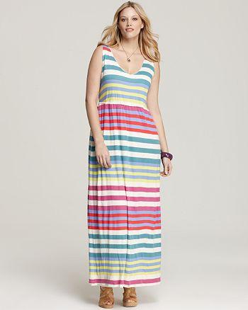 Splendid Plus - Tropical Sripe Maxi Dress