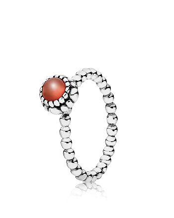 PANDORA - Ring - Sterling Silver & Carnelian Birthday Blooms July