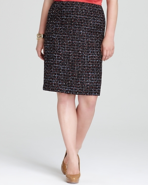 Lafayette 148 New York Plus Modern Slim Tweed Skirt