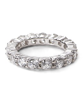 Crislu - Sterling Silver Round Stone Eternity Band Ring
