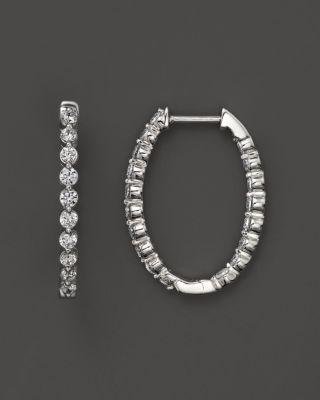 Bloomingdale's DIAMOND INSIDE-OUT OVAL HOOP EARRINGS IN 14K WHITE GOLD, 1.0 CT. T.W. - 100% EXCLUSIVE