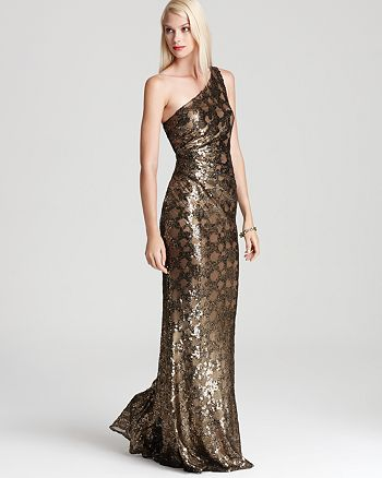 David Meister One Shoulder Gown - Sequin | Bloomingdale\'s