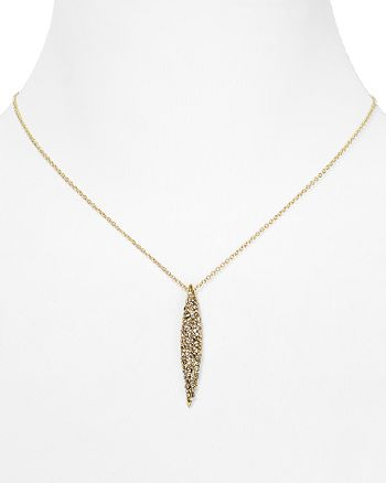 """Alexis Bittar - Crystal Encrusted Gold Spear Pendant Necklace, 16"""""""