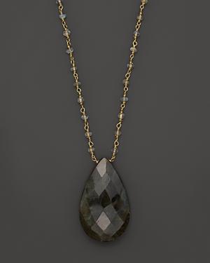 Labradorite Rondelles Linked Chain with Labradorite Pear Shape Pendant, 32 - 100% Exclusive