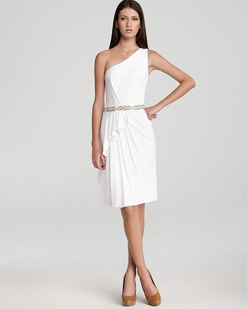 David Meister - One Shoulder Dress - Embellished Waist