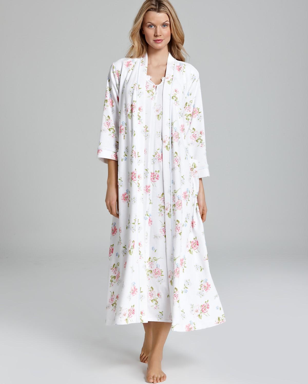 Carole Hochman Waffle Knit Floral Robe & Soft Jersey Long Floral ...