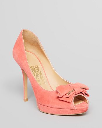 Salvatore Ferragamo - Peep Toe Platform Pumps - Ornament Bow Rossela High-Heel
