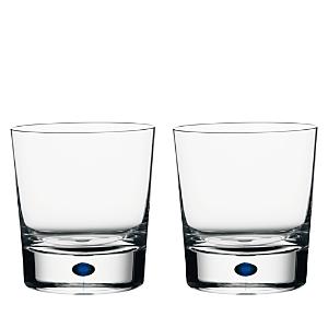 Orrefors Intermezzo Blue Set of 2 Double Old Fashioned Glasses