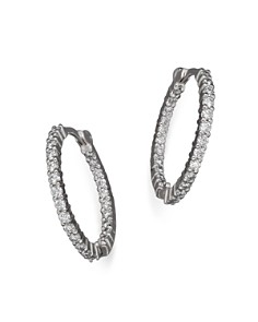 Roberto Coin 18K White Gold Diamond Inside-Out Hoop Earrings - Bloomingdale's_0