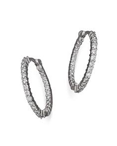 Roberto Coin 18k White Gold Diamond Inside Out Hoop Earrings Bloomingdale S 0