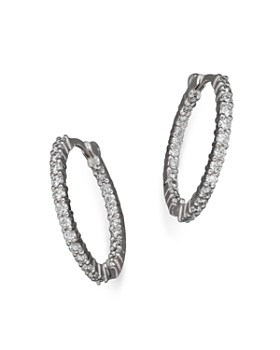 75765bb4e Roberto Coin - Roberto Coin 18K White Gold Diamond Inside-Out Hoop Earrings  ...