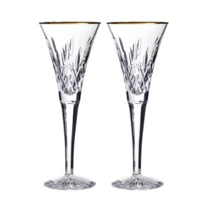 Waterford Lismore Gold Toasting Flute, Set of 2