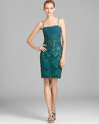 Sue Wong - Spaghetti Strap Sequin Dress