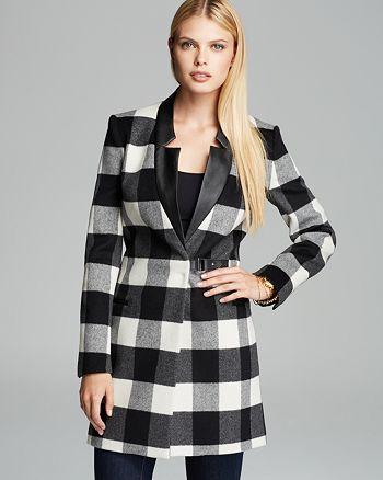 KAREN MILLEN - Plaid Collection Coat - 100% Exclusive