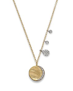 """Meira T - Diamond Disc Charm Necklace in 14K Yellow Gold, 16"""""""