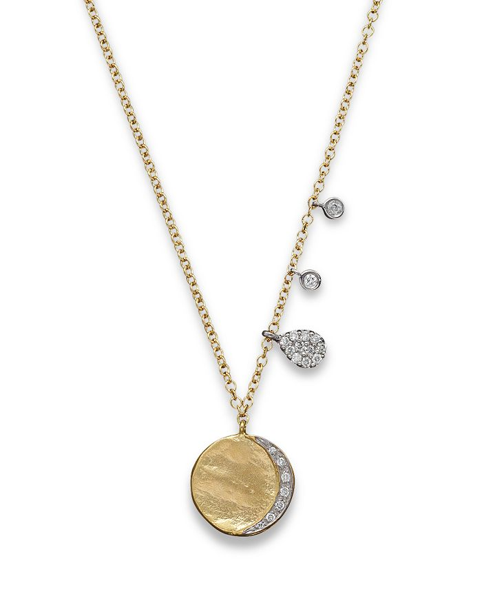 Meira T - Diamond Disc Charm Necklace in 14K Yellow Gold, 16""