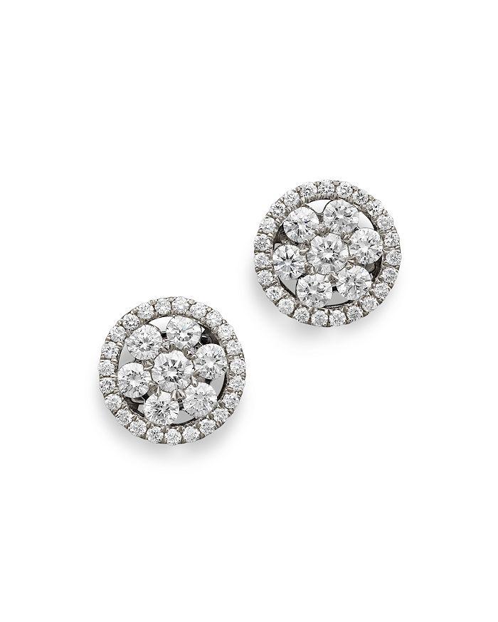 Roberto Coin - 18K White Gold Diamond Round Cluster Earrings
