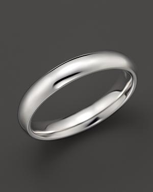 Men's 14K White Gold Comfort Feel Plain Wedding Band - 100% Exclusive