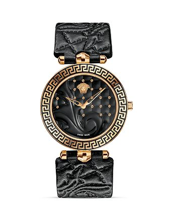 Versace Collection - Vanitas Rose Gold PVD Watch with Black Enamel Dial, 40mm