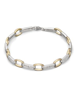 Pave Diamond Link Bracelet in 14K White and Yellow Gold, .75 ct. t.w.