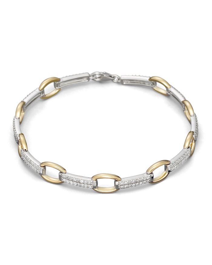 Bloomingdale's Pavé Diamond Link Bracelet in 14K White and Yellow Gold, 0.75 ct. t.w.  | Bloomingdale's