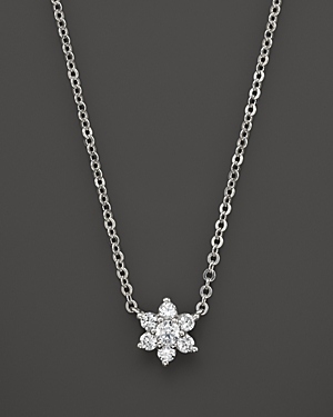 Small Diamond Flower Cluster Pendant in 14K White Gold, .10 ct. t.w. - 100% Exclusive