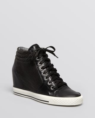 DKNY Lace Up High Top Wedge Sneakers