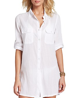 Ralph Lauren - Crushed Cotton Camp Shirt Swim Cover-Up