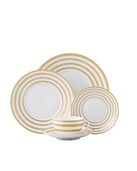 JL Coquet - Hemisphere Dinnerware, Gold Stripes