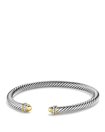 David Yurman - Cable Classics Bracelet with Gold Domes & Diamonds