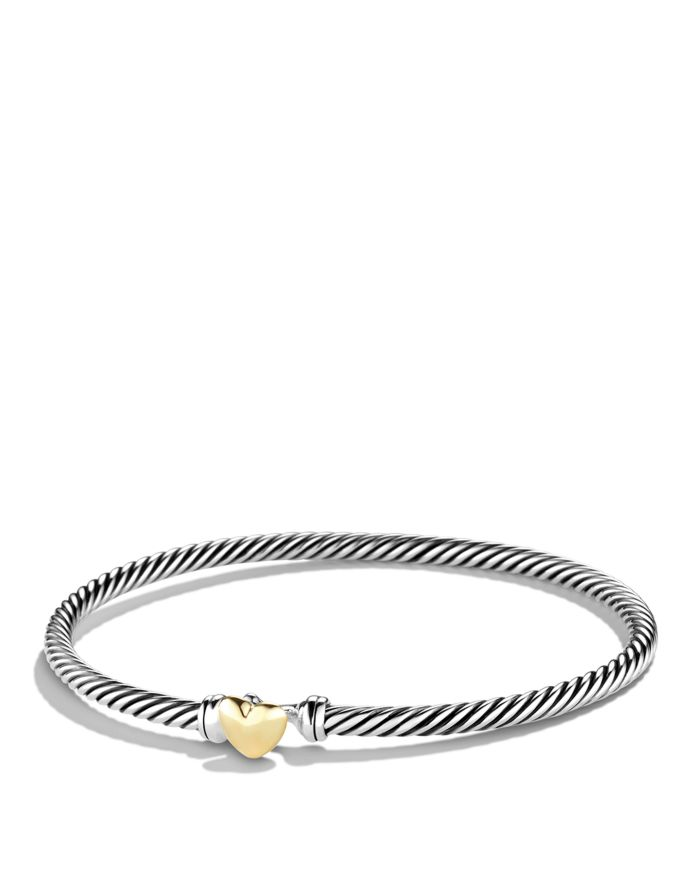 David Yurman Cable Collectibles Heart Bracelet with 18K Gold, 3mm  | Bloomingdale's