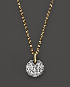 Diamond Pavé Small Disk Pendant Necklace in 14K White and Yellow Gold, .18 ct. t.w. - 100% Exclusive - Bloomingdale's_0