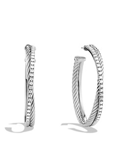 David Yurman - Crossover Extra Large Hoop Earrings with Diamonds