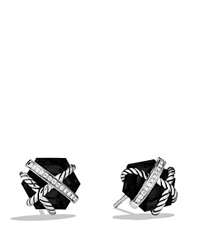 David Yurman - Cable Wrap Earrings with Black Onyx and Diamonds, 10mm
