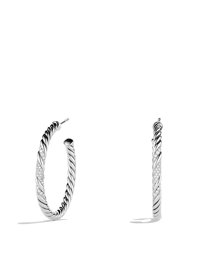 David Yurman - Willow Medium Hoop Earrings with Diamonds