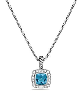 David Yurman - Petite Albion Pendant with Colored Gemstone & Diamonds on Chain
