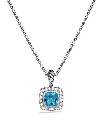 David Yurman - Petite Albion Pendant with Blue Topaz and Diamonds on Chain