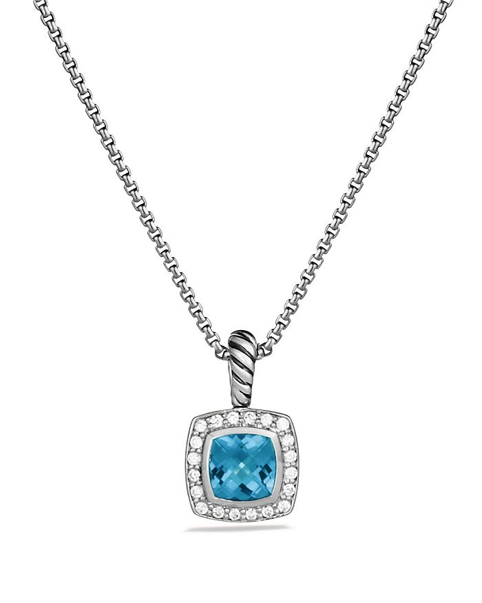 David Yurman Petite Albion Pendant With Blue Topaz And Diamonds On Chain In Green