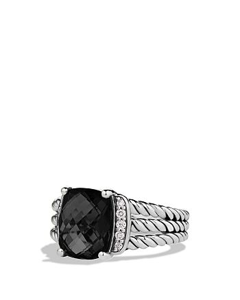 David Yurman - Petite Wheaton Ring with Black Onyx and Diamonds