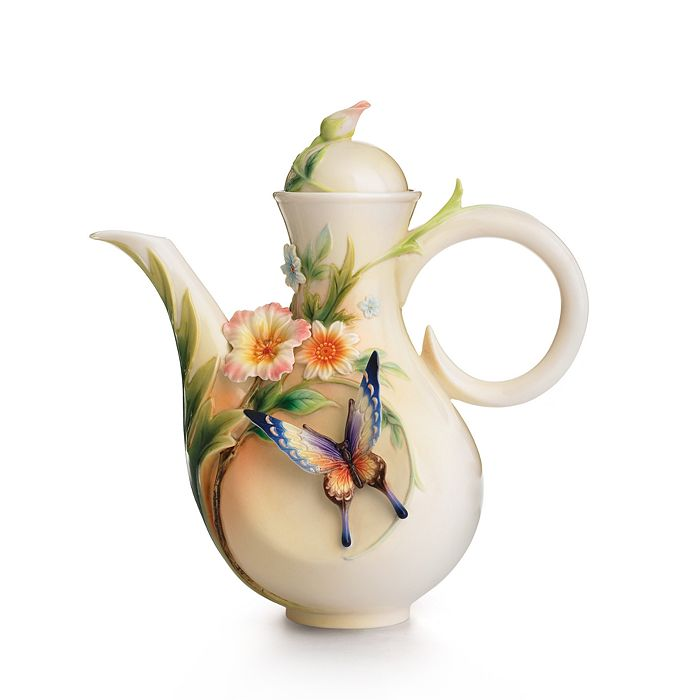 Franz Collection - Fluttering Beauty Flower and Butterfly Teapot