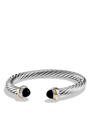 $David Yurman Cable Classics Bracelet with Black Onyx & Gold - Bloomingdale's