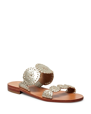 Jack Rogers shapes easygoing slide sandals in a double-band silhouette of signature whipstitched rondelles, perfect for pairing with everything from off-duty denim to wispy dresses.