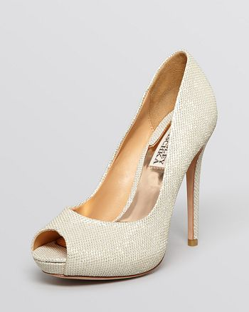 Badgley Mischka - Peep Toe Platform Evening Pumps - Drama High-Heel