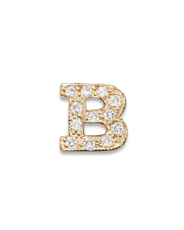 Zoë Chicco Pave Diamond Single Initial Earring
