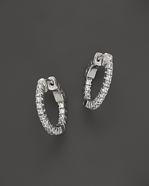 Diamond Inside Out Hoop Earrings in 14K White Gold, .75 ct. t.w. - 100% Exclusive