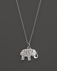KC Designs - KC Designs Diamond Elephant Pendant in 14K White Gold, 16""