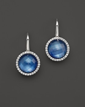 Roberto Coin - Roberto Coin 18K White Gold Fantasia Blue Topaz, Lapis and Mother-of-Pearl Triplet Cocktail Earrings with Diamonds