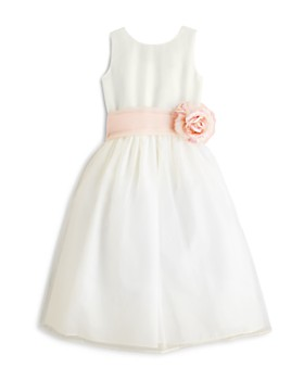 US Angels - Girls' Mix & Match Organza Dress, Sash & Rosebud - Little Kid