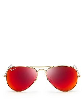 Ray-Ban - Polarized Mirrored Aviator Sunglasses, 58mm
